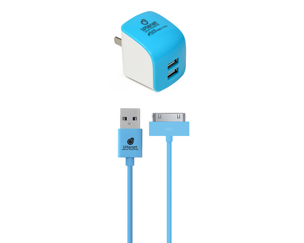 blue iphone 4 wall charger wholesale