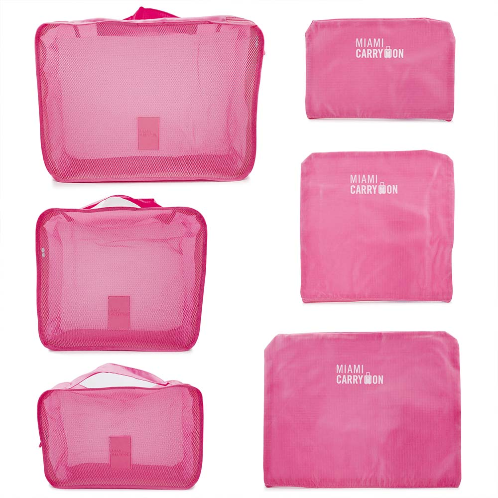 Miami Carryon Set Of 6 Ng Cubes Luggage Organizers 3 Travel Pouches Hot Pink
