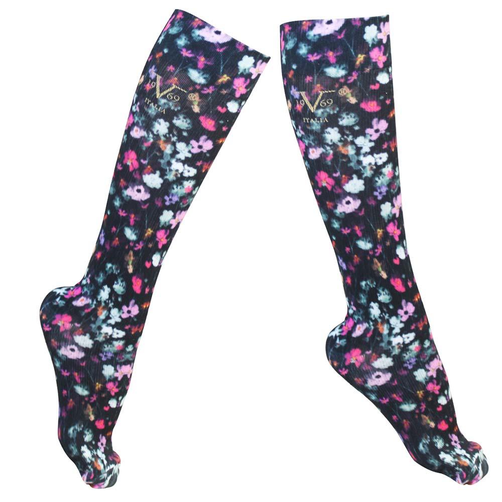 13791b258d 19V69 Italia Compression Socks for Travel, Diabetic – Watercolor Flowers (W  10-13 / M 9-12)